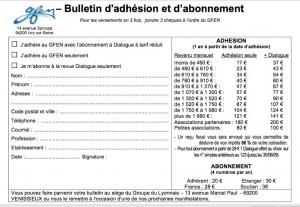 1 bulletin d'adhésion