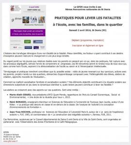 PRATIQUES POUR LEVER LES FATALITES 2 avril 9èmes Rencontres nationales du GFEN à St Denis - copie